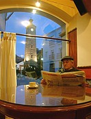 Restaurant La Bodega and the Clock Tower, Almedinilla, Cordoba-province, Spain