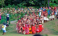 Delegations arriving for Marquesan festival -group from Ua Pou in front-, Nuku Hiva, Marquesas Islands, French Polynesia