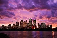 Sydney Skyline from Botanical Gardens at dusk