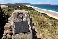 Memorial plaque to Truganini, claimed to be the last full-blooded Aboriginal  Tasmanian Bruny Island, Tasmania, Australia