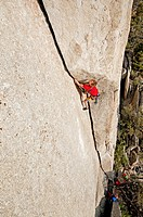 Rock climbing a route called White Lightning which is rated 5,10 and located at The City Of Rocks National Reserve near the town of Almo in southern I...