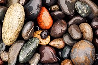 Colorful Stones on Rialto Beach, near La Push, Washington USA