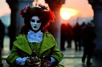 Person wearing mask at the Carnival of Venice, Italy
