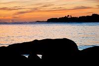 A west coast sunset near the Waimea area of Kauai, Hawaii, USA