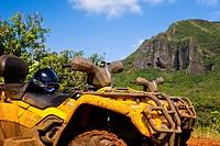 An ATV adventure though Kipu Ranch on Kauai, Hawaii, USA. The Ha´upu mountain range is in the background.