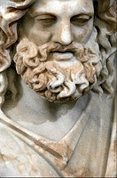 Marble statue from the Temple of the Egyptian Gods, Zeus-Serapis, depicted as Plouto, Lord of the Underworld, Zeus-Serapis was god created by the Gree...