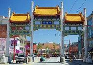 Vancouver Chinatown´s Millennium Gate across Pender Street was built to inaugurate the new Millennium, symbolic of the past and future and Asia and th...