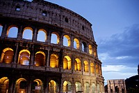 the colosseum at night in rome italy