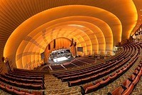 The view of the stage from the balcony as workers prepare for a show in historic Radio City Music Hall in New York City, New York, USA