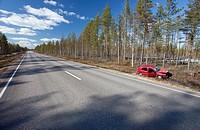 Crashed Volkswagen Golf at roadside ditch  Location Peurasuo Ahokylä Finland Scandinavia Europe