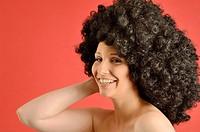 Portrait of woman wearing a wig