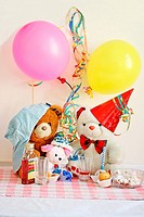 Teddy Bear Birthday Party  Three bears have a birthday party with cake, popcorn and mead  A white bear with red party hat and brown bear with light bl...