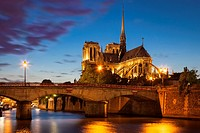 Twilight over Cathedral Notre Dame and River Seine, Paris France