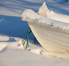 Rowboat bow at snow  Location Oulu Finland Scandinavia Europe