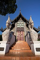Wooden building holding the Venerable Acharn Mun Bhuridatto Vihara, Wat Chedi Luang, Chiang Mai, Thailand