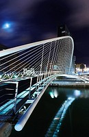 Zubizuri white bridge, by night, designed by Santiago Calatrava  Bilbao, Biscay, Basque Country, Spain