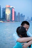 Shanghai sunset with hug