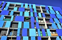 Facade of apartament building in the 22 @ district, Barcelona, Catalonia, Spain.