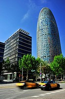 Agbar tower by Jean Nouvel, 22 @ district, Barcelona, Catalonia, Spain.