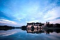 Dusk over Avignon, Provence, France,