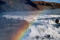 People on the edge of the waterfall of Gullfoss, one of the largest and mighty waterfalls of Iceland  Golden Circle  Southeast Iceland  Iceland, Scand...