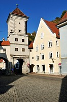 historic city gate, Sandauer Tor, Landsberg am Lech, Upper Bavaria, Germany, Europe
