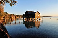 wooden boathouse on the shore of Lake Ammer, Stegen, Ammersee, Upper Bavaria, Germany, Europe