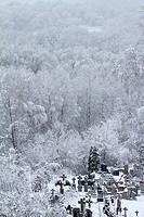 Villiage cemetary in winter  Mielnik  Poland