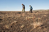 Two person exploring the volcanic soil on fjallaback around Landmannarlagur in central Iceland