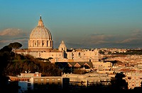 St  Peter´s Basilica photographed from an high and far position at sunset with clear sky in the background
