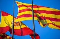 Spanish and Catalan Flags, Barcelona, Spain