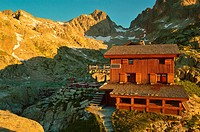 Lac Blanc Refuge. Nature Reserve Aiguilles Rouges. Chamonix valley. French Alps