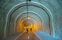 Former railway tunnel converted into cycling and walking path Zizkov district Prague Czech Republic Europe.