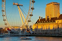 England, Greater London, London Borough of Lambeth. The London Eye (also known as the Millennium Wheel), the tallest Ferris wheel in Europe located on...