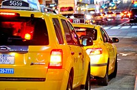 Yellow taxi cabs, Mass transit, adjacent to Grand Central Terminal, Park Avenue, Vanderbilt Avenue, Manhattan, Midtown, New York City, USA.