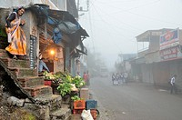 A foggy morning in Joshimath, India.