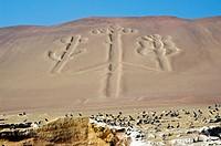 Paracas National Reserve. Paracas Candelabro geoglyph. Paracas culture 200 BCE.