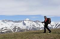 Hiker in Sierra Tendeñera. Aragonese Pyrenees. Huesca, Spain