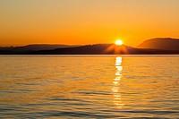 Pacific Northwest sunset, Haro Strait, Saturna Island, British Columbia, Canada.