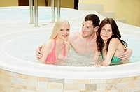 Young people in hot tub