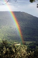 Beautiful rainbow in the Alps. Provence. France.
