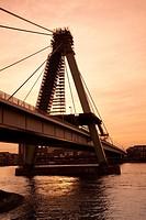 Severinsbrucke (Severins Bridge) at dusk, Cologne, Rhine-Westphalia, Germany.