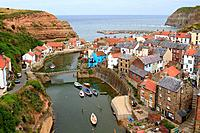 Staithes from Cowbar Bank, North Yorkshire, England, UK.
