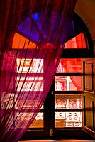 Window with curtains, Moroccan Riad, inside,upper gallery,Marrakech,Morocco.