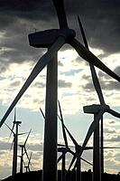 Higueruelas wind turbines in the region Los Serranos. Valencia.