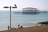 Brighton, East Sussex, England, UK. Remains of the West Pier (built 1866; destroyed by fire 2003).