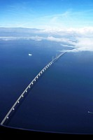 THE ORESUND BRIDGE between Denmark and Sweden.