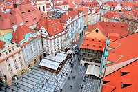 Aerial view of old town square, Prague, Czech Republic.