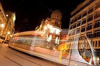 moving tram trail. Seville.