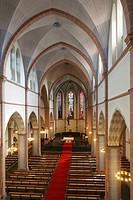 Germany, Oberhausen, Ruhr area, Lower Rhine, Rhineland, North Rhine-Westphalia, NRW, St. Marien church, catholic church, parish church, interior view,...